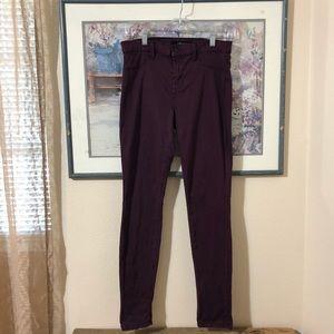 J Brand Syrah Purple Super Skinny Jeggings Sz 28